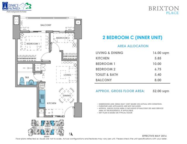 Brixton Place 2 Bedroom C 52 sq meters