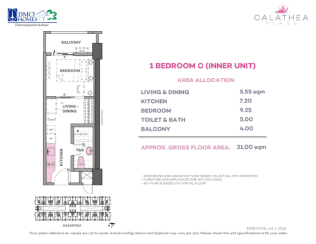 1 Bedroom C 31 sq meters