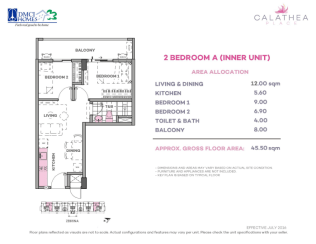 2 Bedroom A 45.5 sq meters
