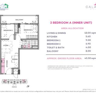 2 Bedroom A 45.5 sq meters
