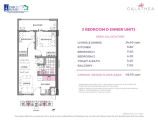 2 Bedroom D 48.5 sq meters