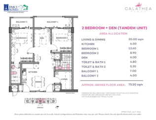 2 Bedroom Plus Den 75.5 sq meters