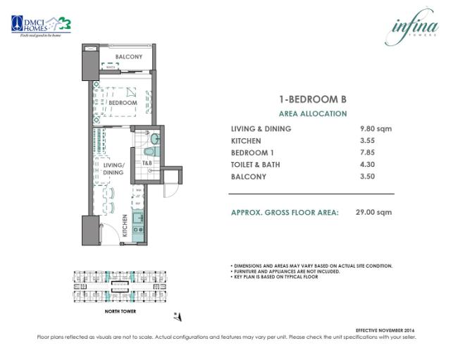 1 Bedroom B 29 sq meters