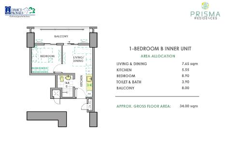 1 Bedroom B Unit Layout in Prisma DMCI