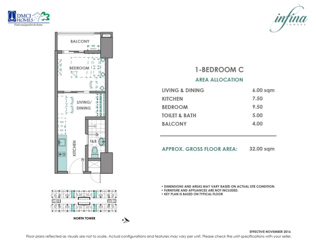 1 Bedroom C 32 sq meters