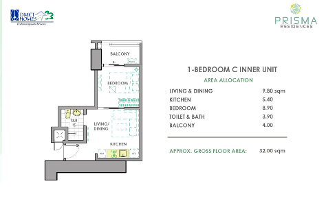 1 Bedroom C Unit Layout in Prisma Residences
