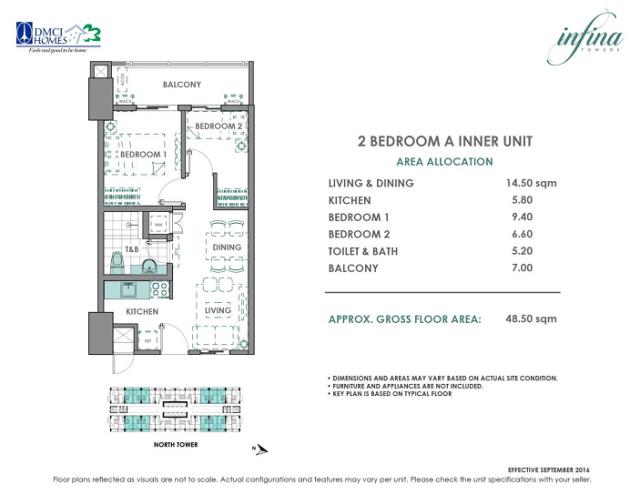 2 Bedroom A 48.5sqm Infina Towers