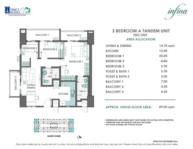 3 bedroom A tandem 89 sq meters infina-towers.