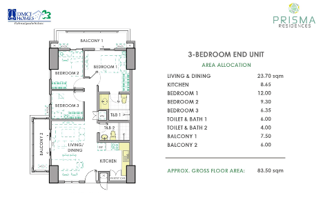 3 Bedroom Unit Layout in Prisma Residences