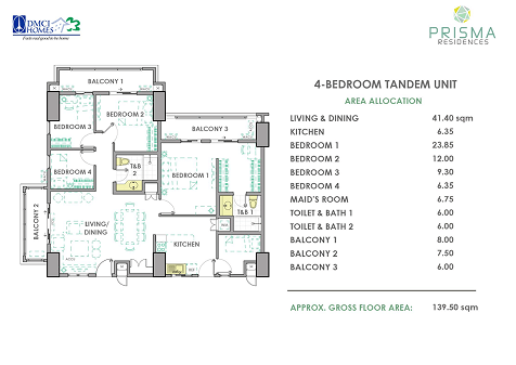 4 Bedroom Tandem Layout in Prisma DMCI