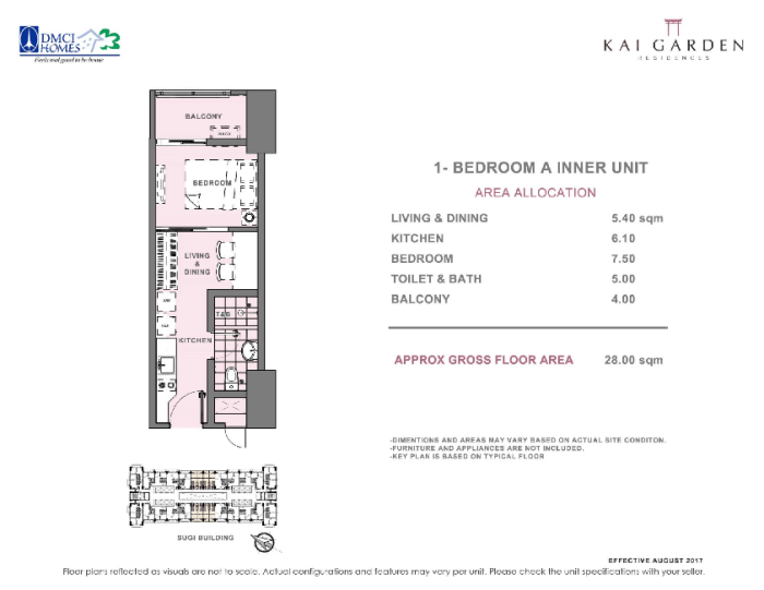 Kai 1 Bedroom A Unit Layout 28 square meters