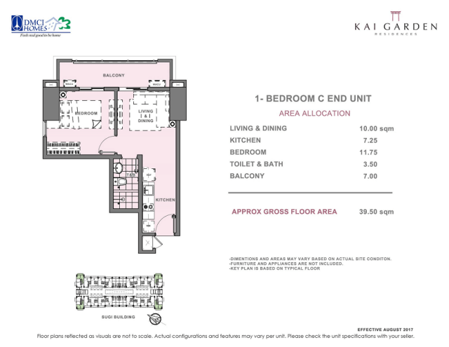 Kai 1 Bedroom C End Unit Layout 39.5 square meters