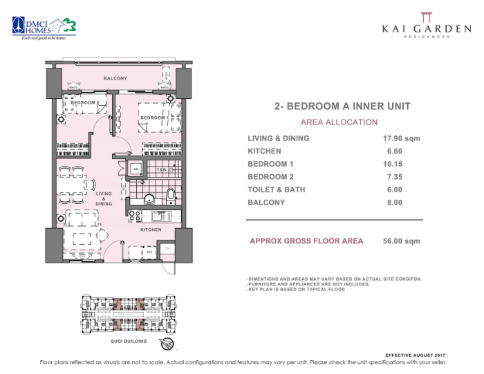 Kai 2 Bedroom A Unit Layout 56 square meters