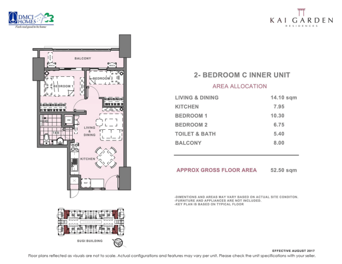 Kai 2 Bedroom C Unit Layout 52.5 square meters