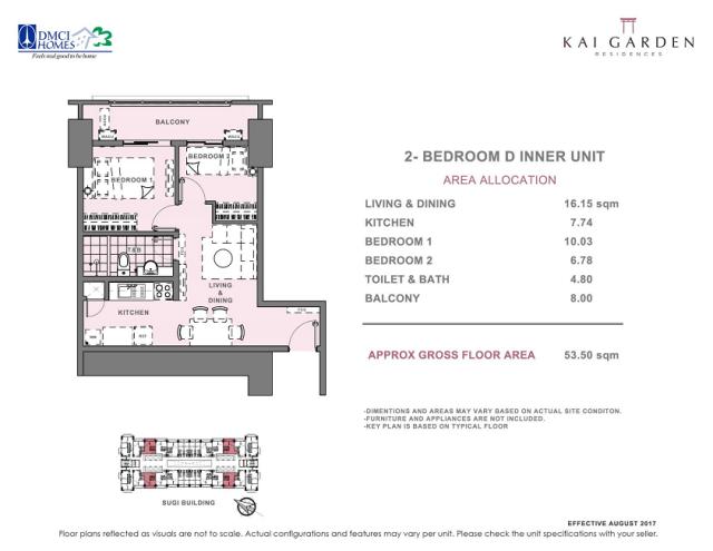 Kai 2 Bedroom D Unit Layout 53.5 square meters