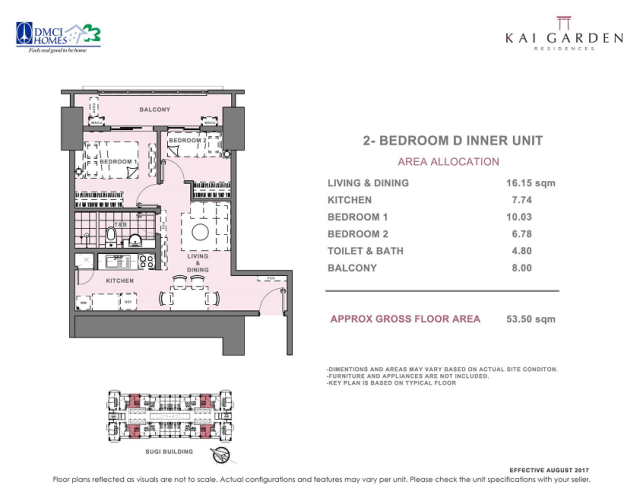 Kai 2 Bedroom D Unit Layout 53.5 square meters