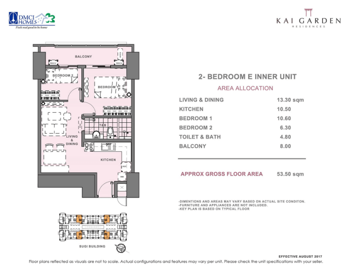 Kai 2 Bedroom E Unit Layout 53.5 square meters