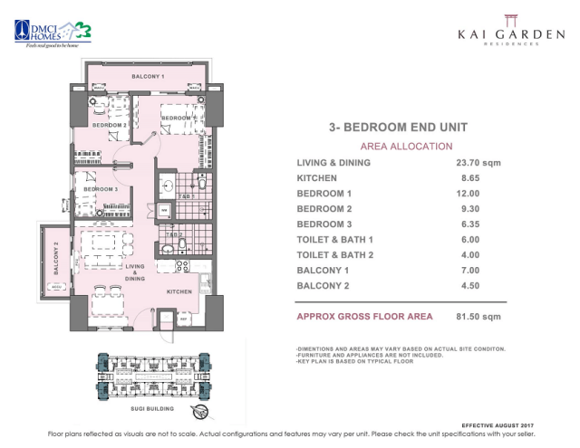 Kai 3 Bedroom E Unit Layout square meters