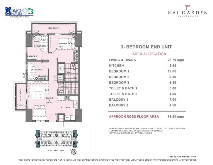 Kai 3 Bedroom E Unit Layout square meters