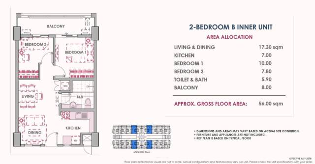 2 Bedroom B Inner Unit Layout 56 sq meters Atherton