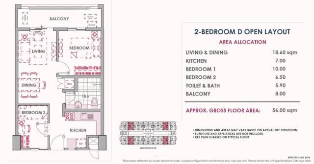 2 Bedroom D Inner Unit Layout 56 sq meters Atherton
