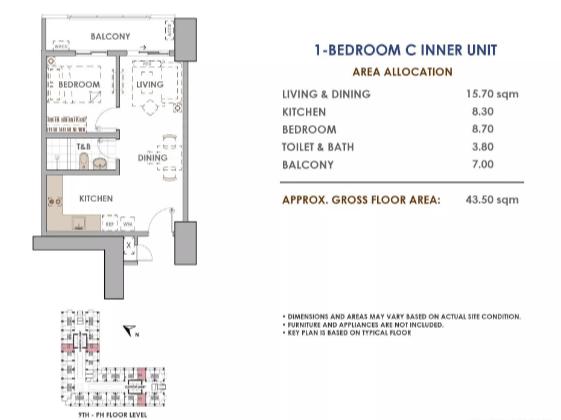 Aston 1 Bedroom C 43.5 sq meters