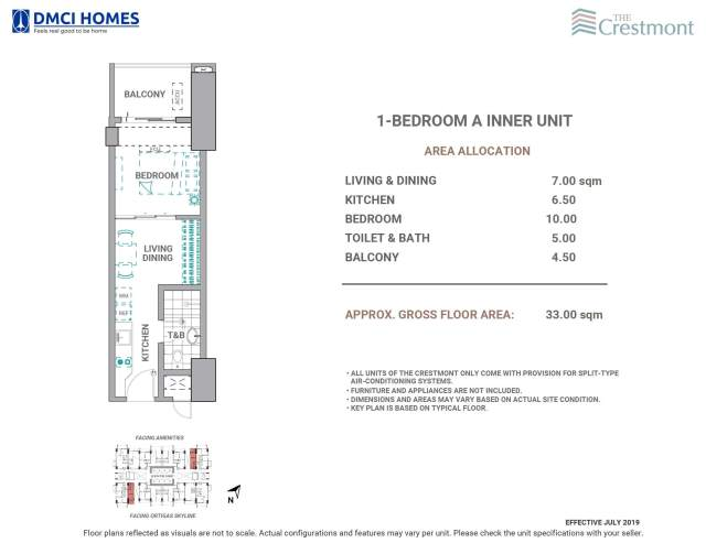 The Crestmont 1 Bedroom A Unit Layout
