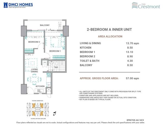 The Crestmont 2 Bedroom A Unit Layout