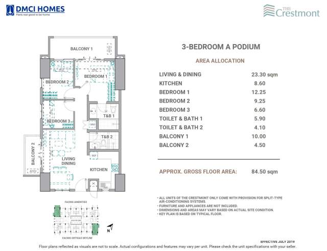 The Crestmont 3 Bedroom A Unit Layout