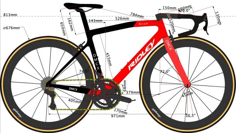Caleb Ewan's bike geometry sketch