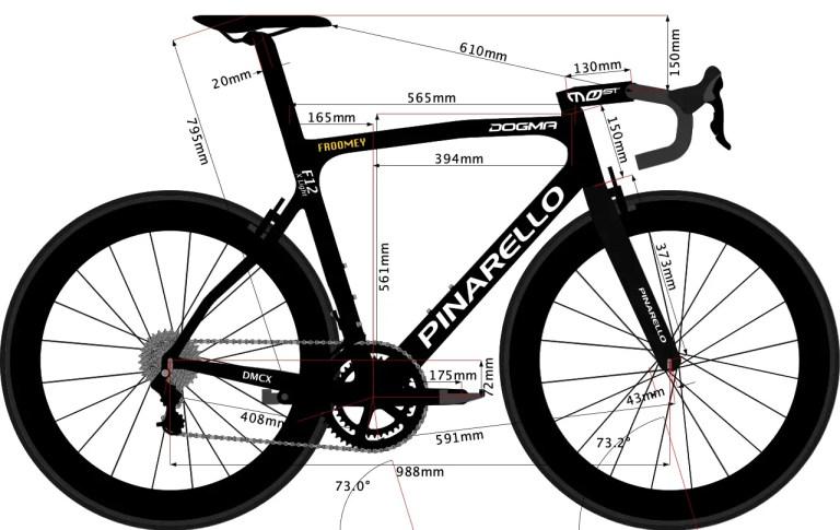 Pinarello Dogma F12 X Light 2020 frame geometry sketch