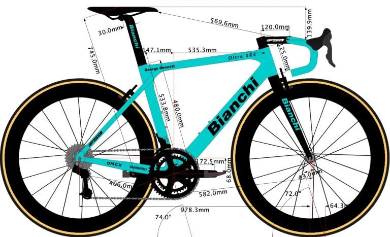 sketch of George Bennett's Bianchi bike geometry