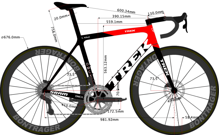 sketch of vicenzo nibali Trek Emonda size 56cm 2021 model