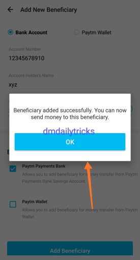 How to add beneficiary in paytm
