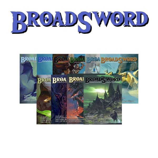 BroadSword Volume 1 Print Bundle by DMDave features the compendium and issues 4-12 of BroadSword Monthly in a set of 10 soft-covered books. Buy it now at dmdave.com