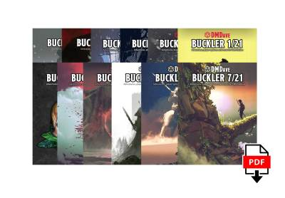 Buckler 12 Issue Digital Subscription at DMDave.com. Featuring 3 digitally formatted PDFs of original 5e content, monsters, maps and more by DMDave