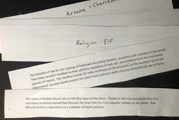 slips containing written adventure background information