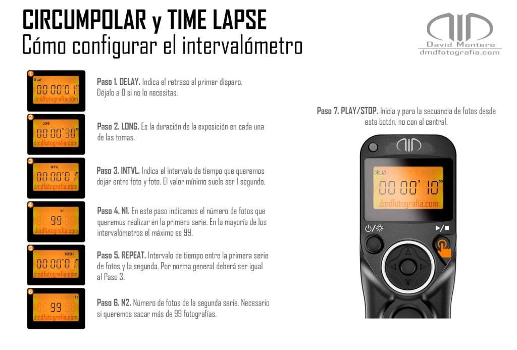 Cómo configurar intervalómetro para circumpolar y time lapse