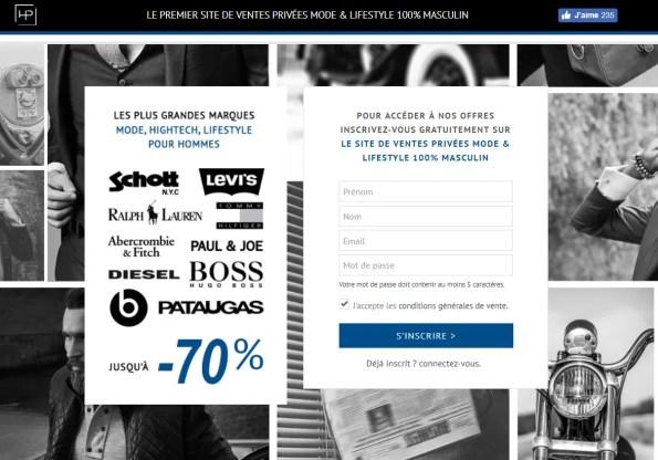 liste des sites de ventes privées homme