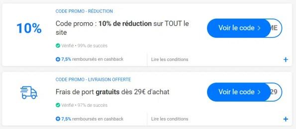 réductions et cashback
