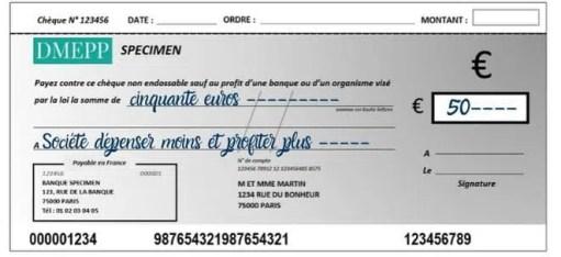 remplir un chèque bénéficiaire