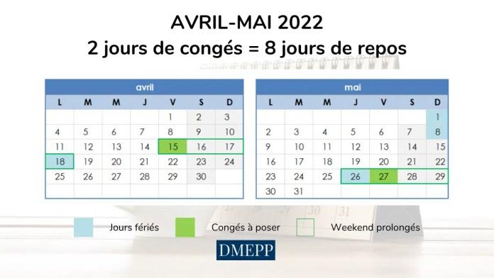 optimiser ses jours de congés avril mai 2022 vacances scolaires