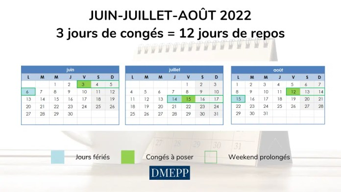optimiser ses jours de congés juin juillet août 2022 vacances scolaires