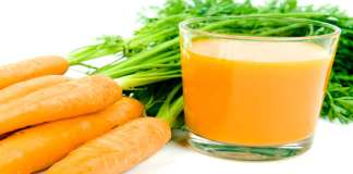 Orange carrots with juice