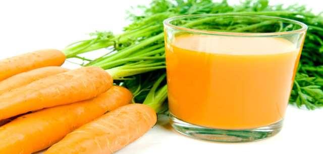 Orange carrots with juice