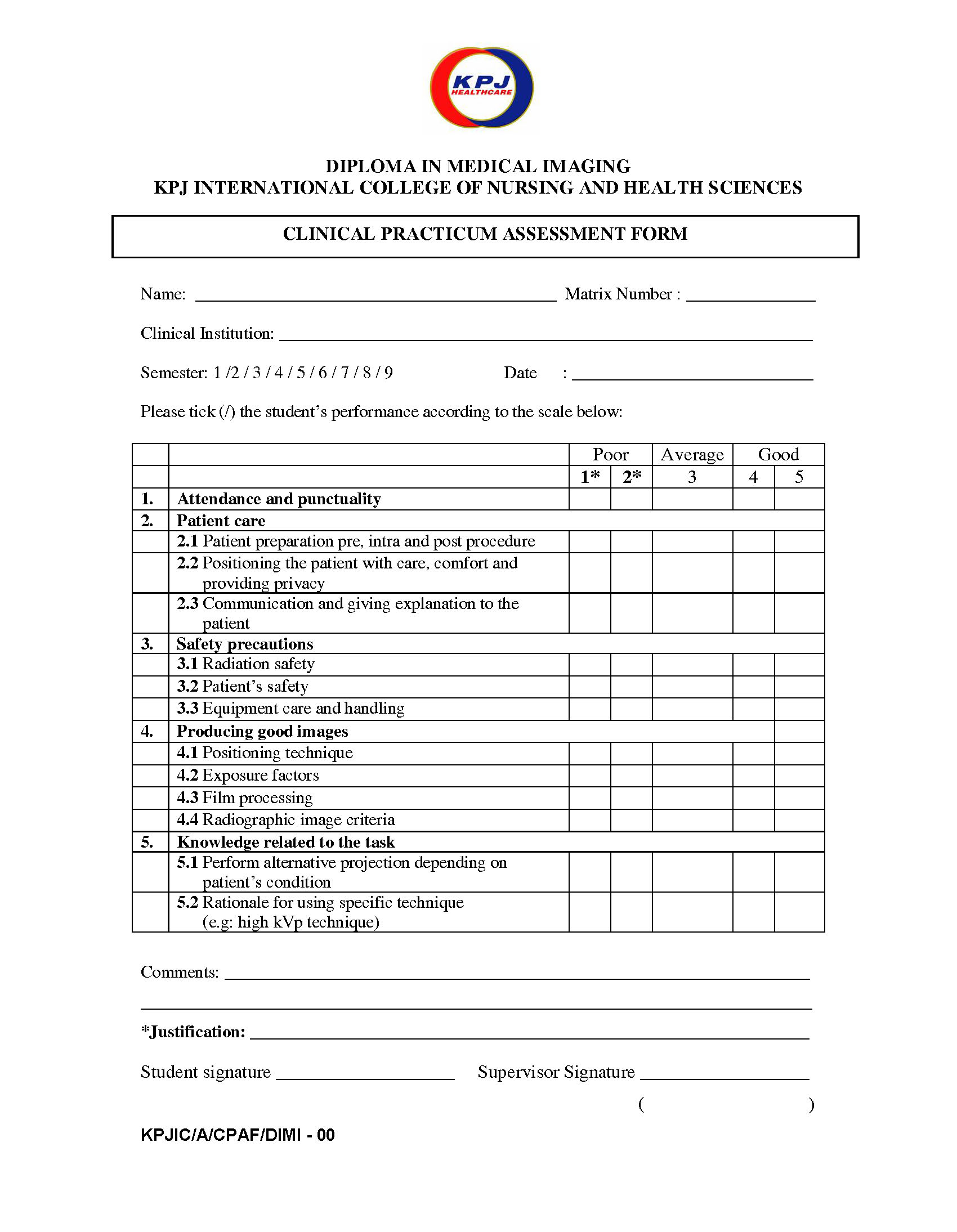 Clinical Practicum Worksheet