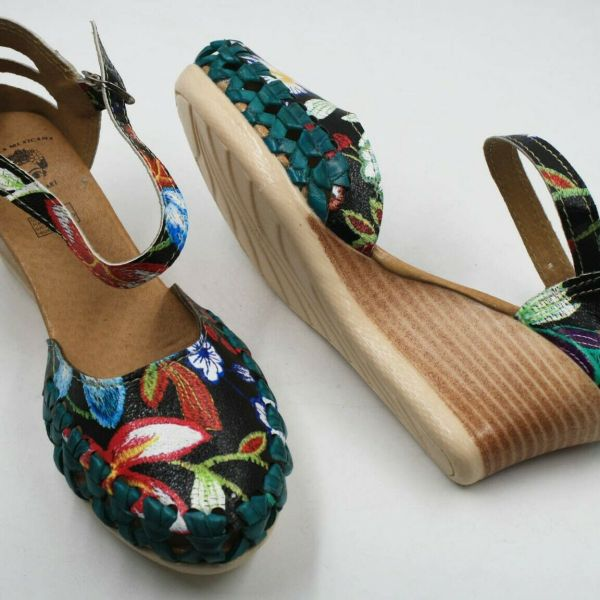 Genuine Leather Espadrille Wedges Mexican Sandals with Flower Paint