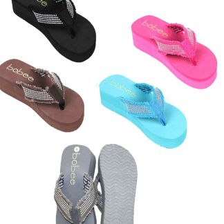 Sandal Platforms Wedges Beach Flip Flops Studded Straps with Stone