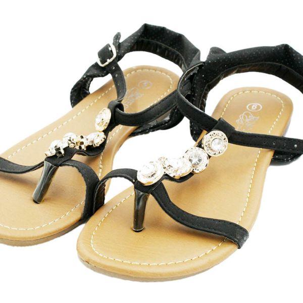 Gladiator Black Sandals Flats