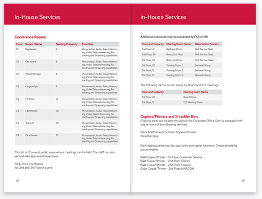 Affinity Welcome Booklet In-House Services Pages